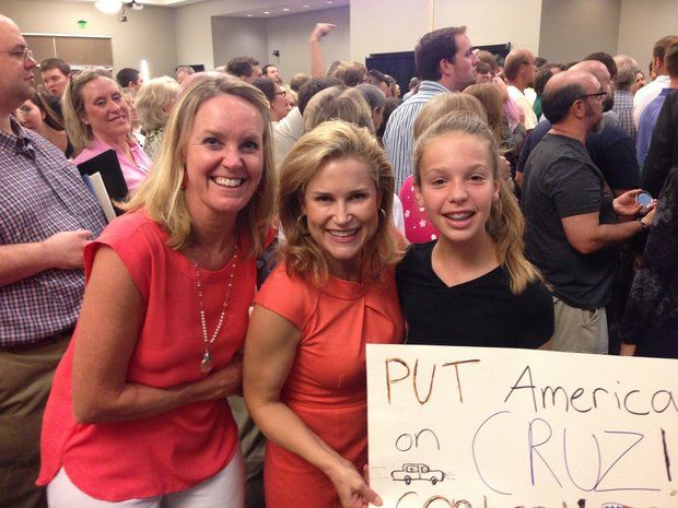Teresa Kimminau, left, and daughter Jemma flank Heidi Cruz, wife of Republican presidential candidate Ted Cruz, after Sunday night rally at the Jackson Center (Photo courtesy Don Kimminau)