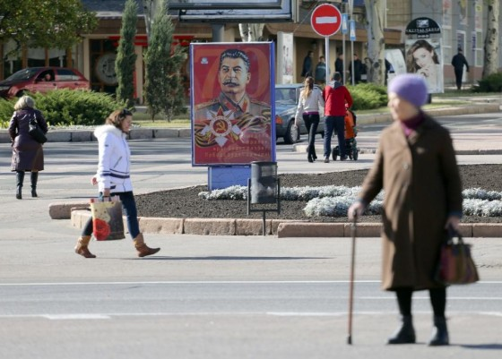 A portrait of Soviet dictator Joseph Stalin displayed in Donetsk, the rebel capital of eastern Ukraine